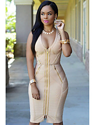 Women's Gold Zipper Luxe Bandage Dress