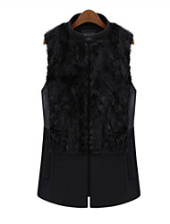 Winter Plus Sizes Women Wild Slim Was Thin Rabbit Fur Collar Sleeveless Cardigan Vest
