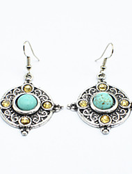 Vintage Look Antique Silver Plated Stone Cz Crystal Turquoise Alloy Dangle Drop Earring(1Pair)