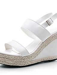 Черный / Белый - Женская обувь - Для офиса / Для праздника / На каждый день - Наппа - На танкетке -На танкетке / Босоножки / С открытым