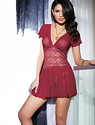 Women Chemises & Gowns Lace Lingerie Nightwear Solid Lace Spandex Red