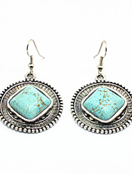 Vintage Look Antique Silver Plated Stone Round Turquoise  Alloy Dangle Drop Earring(1Pair)