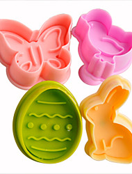 4pcs Easter Plunger Cookie Cutter Kitchen Cookie Stamp in Bunny Chick Egg Butterfly Shape