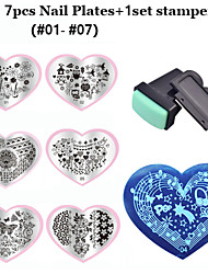 2016 New Love Heart Shape 7pcsNail Art Stamping Plates+ 1set Nail Stamper Scraper  (01-07)