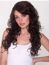Women's Wig Black Color Long Curly Wig with Full Bang Synthetice Wigs