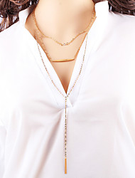 Hot Sale Style Geometric Exaggeration Long Alloy Party Daily Chain Necklaces For Woman&Lady