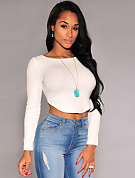 Women's  Arched Back Long Sleeves Crop Top