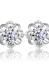 Earring Flower Stud Earrings Jewelry Women Wedding / Party / Daily Silver / Sterling Silver / Crystal 2pcs