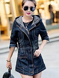Women's Spring Vogue Hood Long Sleeve Waisted Demin Coat Plus Size