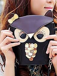 Women PU Sling Bag Shoulder Bag - Orange / Black