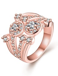 Original Personality  Women's Hollow White Zircon Rose Gold Plated Brass Statement Rings(Rose Gold)(1Pcs)