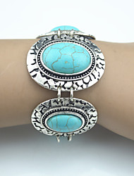 Vintage Look Antique Silver Plated Alloy Oval Turquoise Stone Bracelet(1PC)