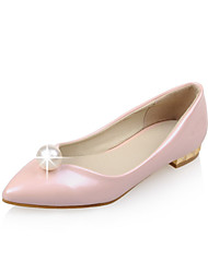 Women's Shoes Patent Leather Summer/ Pointed Toe Flats Outdoor / Casual Flat Heel Imitation Pearl Blue / Pink / Beige