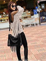 Women's Gauze Off-shoulder Backless Patchwork Knitwear Sweater