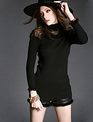 Women's Solid / Lace Red / Black Cardigan , Lace Long Sleeve