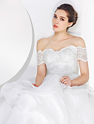 A-line Wedding Dress Sweep / Brush Train Off-the-shoulder Lace / Organza with Lace