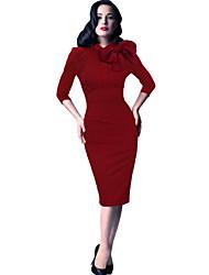 Dámské Práce Bodycon Šaty Jednobarevné Délka ke kolenům Bavlna Polyester Spandex Všechna období Lehce elastické Střední