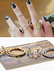 Korean Style Leaf Shape Adjustable Ring Set Midi Rings(Set of 2)