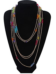 Multicolored Multi-colored Crystal Necklace Long Paragraph Alloy Sweater Chain Bulgaria Jewelry