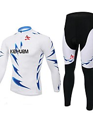 KEIYUEM Cycling Jersey with Tights Unisex Long Sleeve BikeWaterproof Breathable Quick Dry Windproof Insulated Rain-Proof Dust Proof