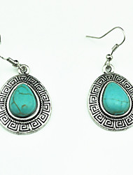 Vintage Look Antique Silver Plated Water Drop Alloy Turquoise Stone Drop Dangle Earring(1Pair)