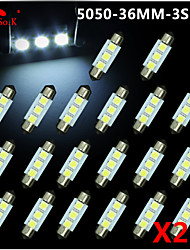 20X White 36mm 3 5050 SMD Festoon Dome Map Interior LED Light Lamp DE3175 3022 12V