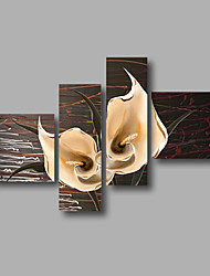 """Ready to Hang Stretched Hand-painted Oil Painting 64""""x44"""" Canvas Wall Art Modern White Lilies Flowers Abstract"""