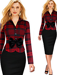 KICAI Women's Plaid / Patchwork Red / White Dresses , Casual / Party / Work V-Neck Long Sleeve PIUS Size