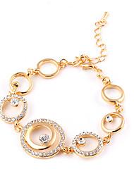 Lureme®European Style Fashion Drill  Big Small Circle Hook-Ups  Gold Plating Bracelet