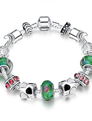 Classic Individual Women's Stoving Varnish Rhinestones Glass Silver Plated Tin Alloy Charm Bracelet(Multicolor)(1Pc)