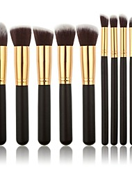 10PCS Professional Makeup Brushes Set Foundation Powder Blush Eyeshadow Brush Gold/Silver Tube Brush
