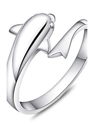 S925 Fine Silver Dolphin Shape Adjustable Ring Fine Jewelry
