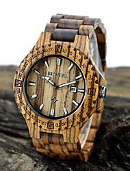 Men's Wrist watch Calendar Quartz Japanese Quartz Wood Band Brown