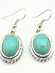 Vintage Look Antique Silver Plated Oval Turquoise Stone Alloy Dangle Drop Earring(1Pair)