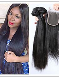 4pcs / lot chers brésiliens vierges soyeux cheveux raides faisceaux de cheveux humains avec fermeture supérieure de dentelle ne verser