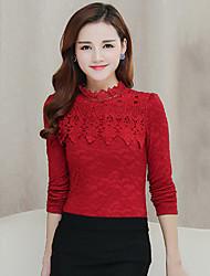 Mulheres Camiseta Colarinho Chinês Manga Longa Renda / Vazado Algodão / Poliéster / Nylon Mulheres