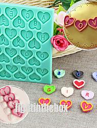 Английский письмо Валентина сердце формы DIY силиконовый шоколад пудинг сахар торт плесень цвет случайный