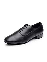 "Non Customizable Men's Latin Ballroom Leatherette Heels Indoor Performance Practice Beginner Professional Lace-up Low Heel Black White1"""