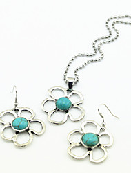 Vintage Look Antique Silver Flower Turquoise Stone Necklace Earring Jewelry Set(1Set)