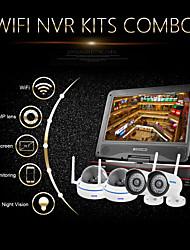 "kits nvr wifi 1.0MP 720p szsinocam®4ch, con 10,1 ""LED, 2pcs cúpula de metal + 2pcs cámara ip wifi impermeable, soporte p2p"