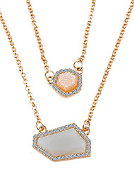 Hot Sale Style Geometric Exaggeration CZ Stone Alloy Daily Chain Necklaces For Woman&Lady