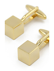 Fashion Copper Men Gift Jewelry Silver and Gold Square Cube Shirt Button Cufflinks(1Pair)