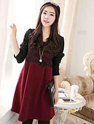 Maternity Lace Stitching Contrast Color Long Sleeve Dress