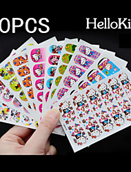 10x12PCS Cute Cat Full Nail Stickers Mixed with Viscosity 9x6CM