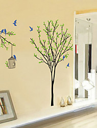 Green Tree And Bird Cage Wall Stickers