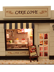 Diy House Cake European Mini Shop Model Dream Villa DIY Dollhouse Including All Furniture Lights Lamp LED