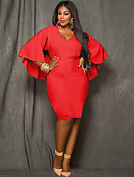Women's Fashion Beach Casual Party V Neck ¾ Sleeve Plus Size Dress (L-XXXL)