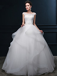 Ball Gown Wedding Dress Floor-length Scoop Organza / Satin