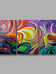Ready to Hand Stretched Framed Hand-Painted Oil Painting Canvas Wall Art Modern Abstract Vivid Colors Three Panels