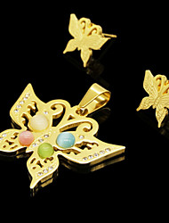 Fashion Gold Plated Stainless Steel Color Stone Butterfly Pendant Earring Jewelry Set(1Set)